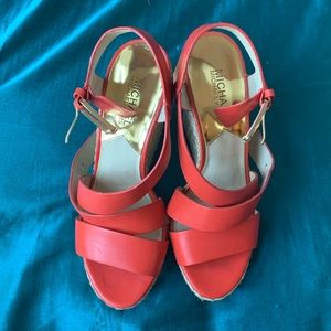 Salmon Thick Strappy Gold Buckle Wedges